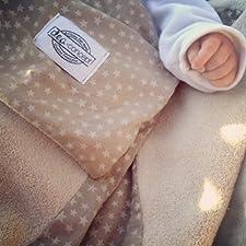 dea-concept Baby Kuscheldecke aus beigefarbenem Sternenstoff und Frottee-Fleece