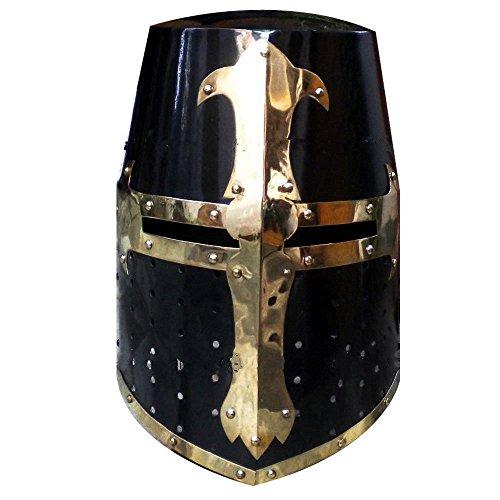 Casco Medieval de crusadero, diseño de Caballero templario con Acabado Negro de...
