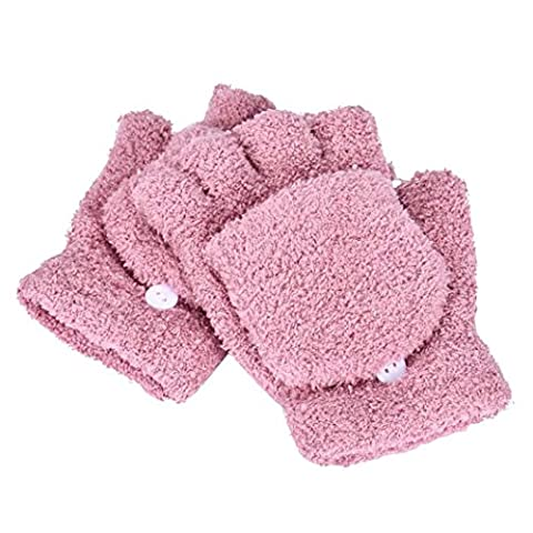 Tonsee® Gants Femmes Filles Mesdames main poignet Warmer hiver Mitaines Mitten (rose)