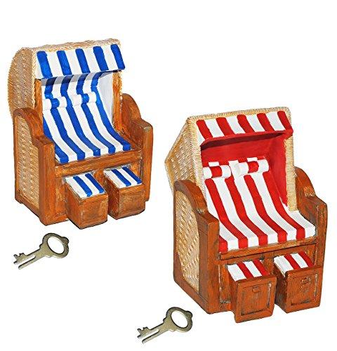 Preisvergleich Produktbild XL Spardose - Strandkorb für Reisekasse & Urlaubsgeld - stabile Sparbüchse aus Kunstharz mit Schlüssel - Sparschwein lustig witzig Strandbad - Urlaubskasse - Urlaub Reisen Urlaubsreise & Flug
