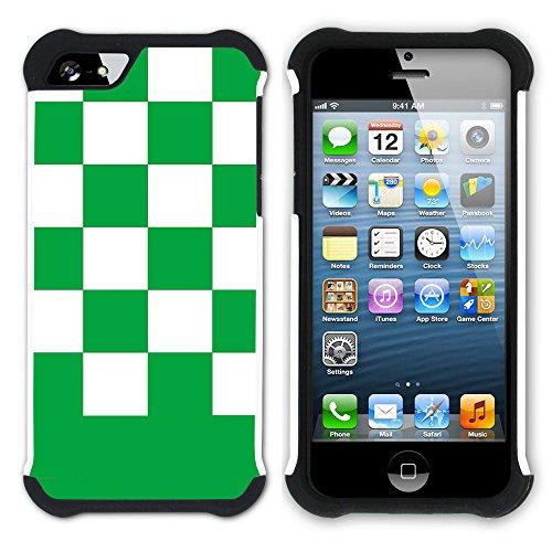 Graphic4You Kariert Muster Design Hart + Weiche Kratzfeste Hülle Case Schale Tasche Schutzhülle für Apple iPhone SE / 5 / 5S (Lila) Grün