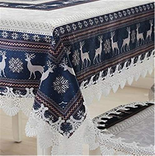 BAHDLES Blue & Red Weihnachten Tischdecke Europäischen Stil Ziege & Schnee Abdeckung Thanksgiving Tischdecke Manteles De Navidad Home Party Decor Blue 40x180cmtable Runner