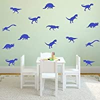 """Wallflexi """"Dinosaurs"""" Removable Self-Adhesive Office Home Decoration Wall Stickers, Vinyl, Blue"""