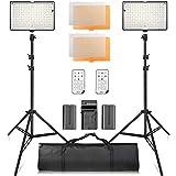 Video Licht LED,SAMTIAN LED Videoleuchte Kit fotografiebeleuchtung mit Ständer LED Panel Set 240pcs 3200 / 5600K Perlen Inklusive Ladegerät Mini Ball Kopf und Tragetasche für YouTube Studio Fotografie