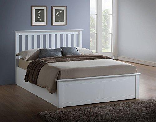 Happy Beds Phoenix Ottoman Bed White Finish Modern Orthopaedic Mattress 5' King Size 150 x 200 cm
