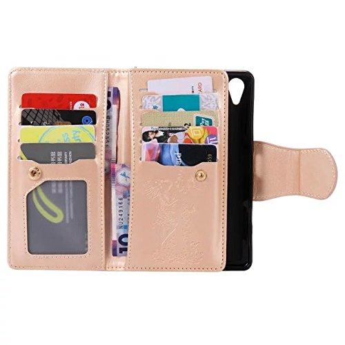 Solid Color PU-Leder-Etui geprägt Drücken von Katze und Mädchen mit 9-Karten-Slots & Handschlaufe Flip Stand Case Case für Sony Xpeira XP ( Color : 3 , Size : Sony Xpeira XP ) 9