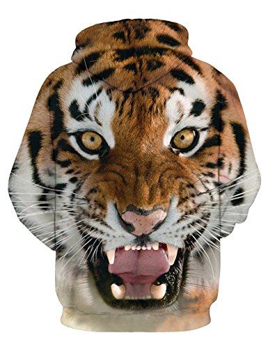 KamiraCoco Unisex 3D Digital Druck Bunte Kapuzenpullover Hoodie Langarm Damen Und Herren Cartoon Weihnachten Sweatshirt Pullover Tiger-1