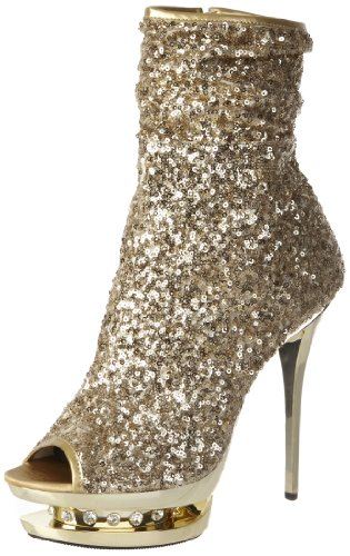 Pleaser Damen Blondie-r-1008 Stiefel, Gold (Gold Sequins/Gold Chrome), 38 EU (5 UK) Chrome High Heel