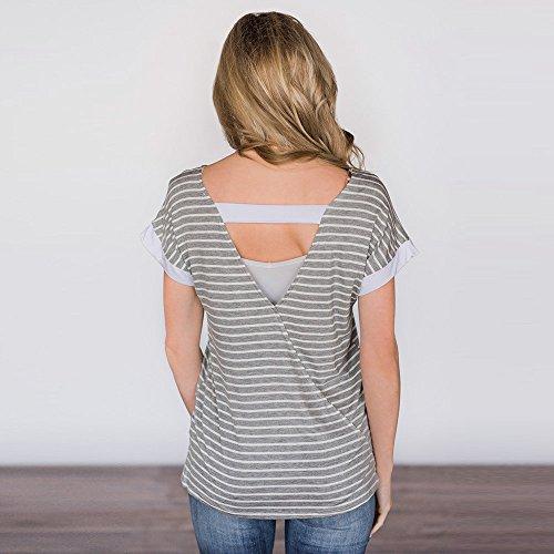 POachers La blusa Backless a strisce della manica corta delle signore delle donne di modo completa la maglietta dei vestiti Grigio