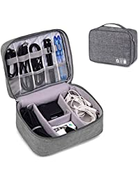 Zonku Waterproof Electronics Gadget Accessories Organizer Bag, Travel Gadget Bag Portable Zippered External Hard Drive Pouch for for Data Cables, Chargers, Power Bank, Adapters, Plugs- Grey