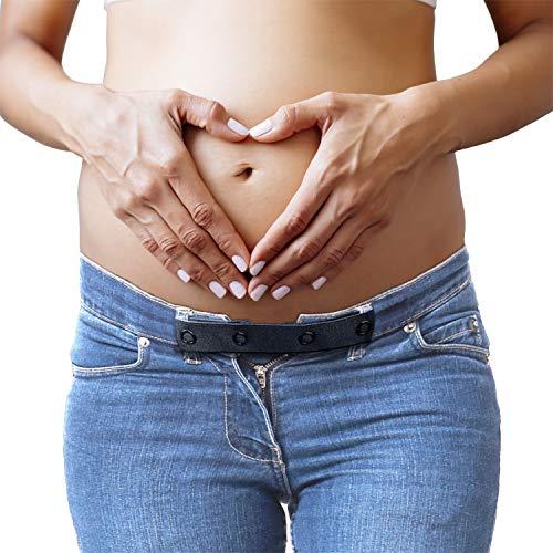 JANEYO 2 x Hosenerweiterung & elastischer Kindergürtel in einem – die ideale Bauchband Umstandsmode – schwarz