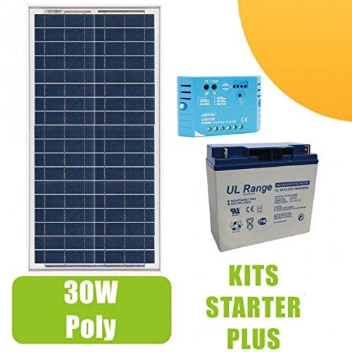 Kit Panel Solar 30W polycristallin 12V, regulador 5A y batería 18Ah: para pequeñas instalaciones solares necesarios para el funcionamiento de luces, bomba o de cualquier otro dispositivo en sitio aislado. Composición del kit: 1x Panel Solar 30W...