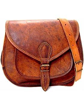 Handgefertigte echtes Leder Damen Satchel Geldbörse Handtasche Vintage Cross-Body Tasche