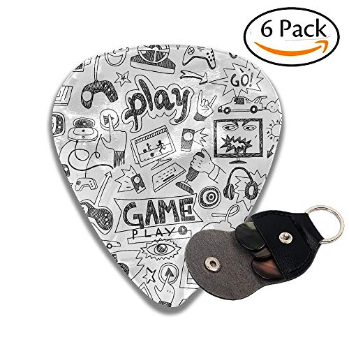 Video Games Black And White Sketch Style Gaming Design Racing Monitor Device Gadget Teen 90s Colorful Celluloid Guitar Picks Plectrums For Guitar Bass 6 Pack.46mm