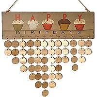 ULTNICE Carta que cuelga la placa de madera Tablero Festival Recordatorio de cumpleaños Regalo del calendario de bricolaje (1 placa, 1 cuerda, 50 rebanadas de madera redondas)