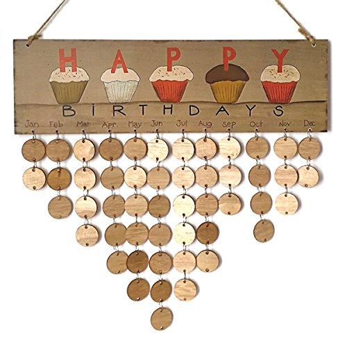 ROSENICE Immerwährender Geburtstagskalender DIY Kalender Geschenk für Haus Party Dekoration (Wand-kalender-string)