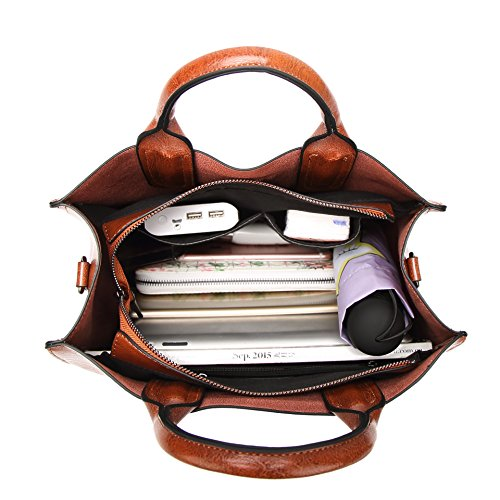 a8c041e6eaeb2 Lady Salon Damen Leder Handtasche Grosse Schultertaschen Umhaengetasche  Vintage Shopper Tasche Braun