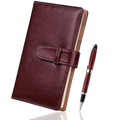 Mit Schreiben, Stift Notizbuch (Tagebuch Reisetagebuch mit Qualität Tintenroller 17,8x 10,2cm Beste Geschenk für Kunst Einband, Reisen Tagebuch und Notebooks zu schreiben in braun)