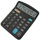 Hossom Calcolatrice,12 cifre con ampio display elettronico Funzione Standard Tavolo Calcolatrice (1 batteria inclusa)Nero