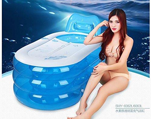CLG-FLY aufblasbare PVC-faltbare Badewanne barrel Whirlpool Isolierung Umweltschutz im Haushalt nach Wanne, Transparent Blau + Weiß, 145*80*70