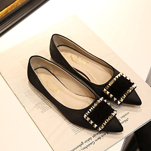 XAH@ Chaussures avec boucle côté pointu rivets chaussures plates en daim Black