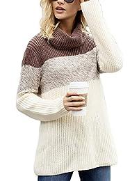 Mujer Suéter Mangas Largas Invierno Jersey Cuello Alto de Punto 15fb8dcd4307