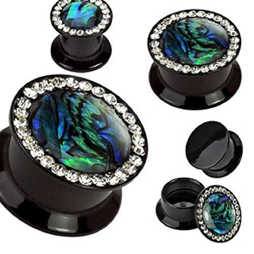 Preisvergleich Produktbild 1 Stück PTT 119 Double Flared Ohr Plug Schwarz Acryl Kristalle Abalone Bunt Einlage 10mm