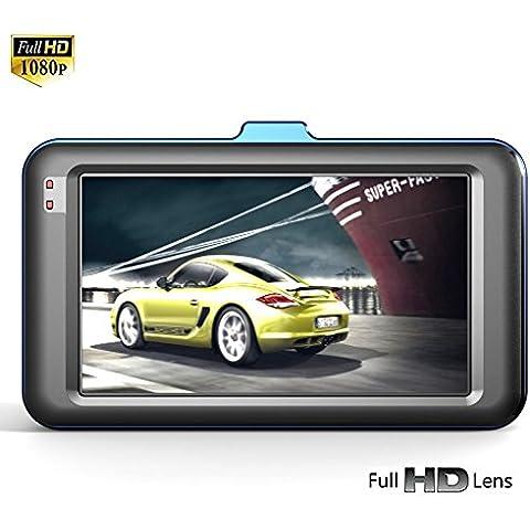 3.0 LCD 170 ° Coche Videocámara DVR Vehiculo Dashcam Cámara Full HD 1080P Video Grabadora ,Sensor-G,automática Loop de grabación de ciclo,detección de movimiento,infrarrojos de visión nocturna,soporta hasta 32GB de tarjeta TF (no incluida)