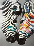 Legendarte PD-03 Quadro con Dettagli Dipinti a Mano - Zebre, Stampa digitale e olio su tela, Multicolore, cm. 60 x 80