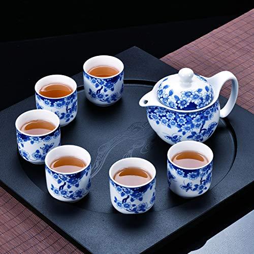 Teetasse Blaue Und Weiße Porzellan Kung Fu Keramik Set Große Tasse Großen Topf Nach Hause Geschenk Urig Und Feierlich Chinesisches Porzellan, Schmetterling Liebe Blume -6 (Chinesische Keramik-topf)