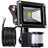 GLW 900lm 10W PIR Motion Sensor LED Flood Light,Outdoor IP65 Waterproof Motion Sensor Spotlight,240V,6000k Daylight White Landscape Wall Light,3.38ft/1m wire,No plug