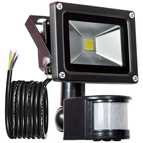GLW 900lm 10W PIR Sensor de Movimiento LED Luz de Inundación,Exterior IP65 Impermeable Sensor de Movimiento Foco,240V,6000k Luz del Día Paisaje Blanco Luz de Pared,3.38ft/1m Cable,Sin enchufes