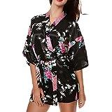 CHENGYANG Donna Vestaglie Scollo a V Kimono Corto Raso Pavone e Fiore Pigiama Camicia da Notte (Nero, M)