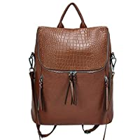 Back to School Genuine Leather Women Backpack Purse Fashion Large Designer Travel Ladies Shoulder Bag with Crocodile Flap