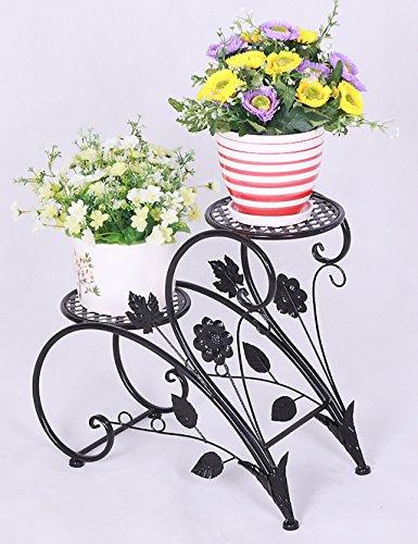 QianDa Etagère à fleurs Porte-Fleurs de Fer Pastorale Pot à Fleurs à Double Couche Porte-Fleurs Salon Balcon Étagères Pot (Couleur : A, taille : L*W*H: 45 * 20 * 42cm)