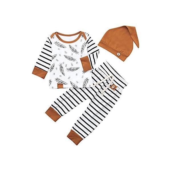 Trisee Ropa Bebe Niño Conjuntos Conjunto de Ropa de Rayas patrón de Plumas Mangas con Capucha Camisetas Recién Nacido… 2