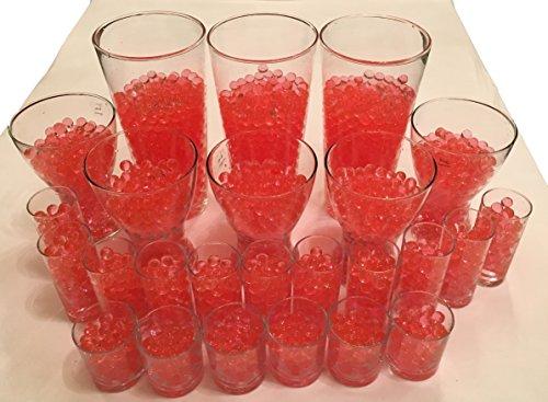 4000 Stück Wasser Kugeln Gel Bälle CHRISTAL ERDE CHRYSTAL Perlen Vasen Dekoration 11-15mm Durchmesser - Pflanzen Kerzen Blumen Wasserspender KRISTALL HINGUCKER (Rot) (Rote Glas Perlen Für Vasen)