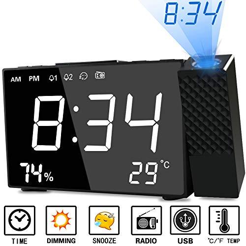 Despertador Proyector, Abwei Radio Despertador Digital Proyección Relojes de Alarma con Alarma Dual Humedad Temperatura Snooze Carga USB Alarma de Proyección de FM y Pantalla LCD de 6.3 Pulgadas