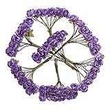 SM SunniMix 144stk. Papier Blumenstrauß Rosenstrauß Blumenköpfe Rosenköpfe Basteln Haarschmuck Gastanstecker usw. - Purple, 7cm