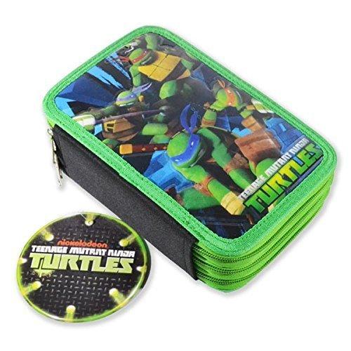 Astuccio triplo 3 cerniere teenage mutant ninja turtles tartarughe ninja con colori e accessori scuola 45 pezzi