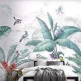 Carta Da Parati Adesiva Muro 3D Disegnati A Mano Freschi Piante Tropicali Fiori E Uccelli Fotomurali 3D Photo Wallpaper Moderna Murale