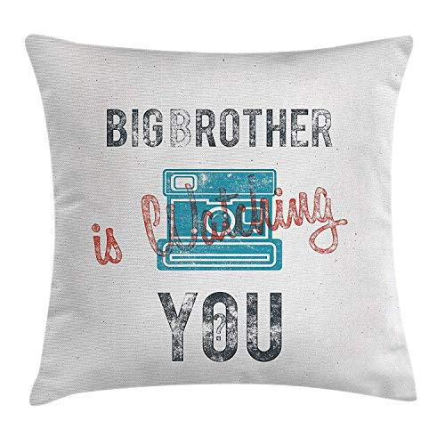 shizh Dekokissen KissenbezugHalb getönten Big Brother Zitat mit Old-Fashion-Analogkamera-Symbol Web Print Pillowcase 45x45cm