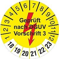 10-2500 Stück gelb geprüft nach DGUV Vorschrift 3 mit Blitz Prüfetiketten / Prüfplaketten 30 mm rund 2018-23