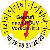 1000 Stück gelb geprüft nach DGUV Vorschrift 3 mit Blitz Prüfetiketten / Prüfplaketten 30 mm rund 2018-23