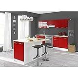 CARMEN Ilot de cuisine L 100cm avec plan de travail inclus - Rouge mat