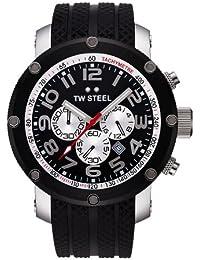 TW Steel TW-85 - Reloj cronógrafo unisex de cuarzo con correa de goma negra (cronómetro) - sumergible a 100 metros