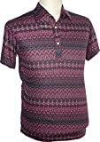 70er Jahre Polo shirt Ornamentics lilac, Chenaski Size M
