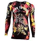Rule Out Long Sleeve Rash Guard Top. Born to Ride. Oldschool Motoclub. Gym. Taining. Fitness. Running. Cycling. Compression T-Shirt. Moto. (Taille XLarge)