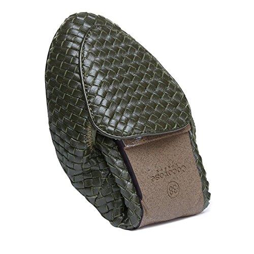 Chaussures Pliantes En Cocorose - Clapham Ballerines Femme En Cuir Vert Olive