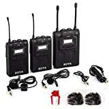 BOYA BY-WM8 UHF Dual Wireless Lavalier Microphone Systerm Lav Interview Mic 2 Transmitters & 1 Receiver + 2 Free AriMic Windshields for DSLR Video Cam at amazon